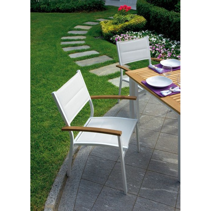 Tavoli E Sedie In Teak Da Giardino.Sedia Impilabile Teak E Alluminio Avorio Bastia San Marco