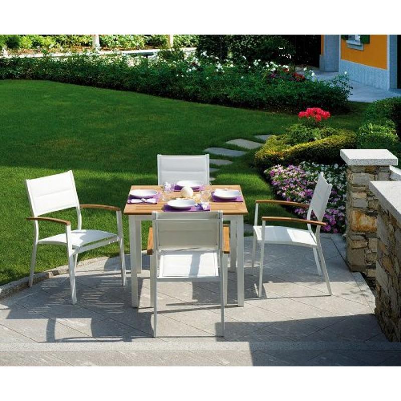 Tavolo da giardino teak e alluminio avorio calvi san marco for Arredo da giardino in alluminio