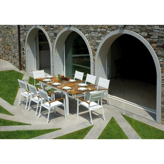 Tavolo giardino in teak e alluminio avorio Ajaccio | San Marco