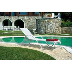 Lettino da giardino in alluminio e textilene avorio Porto Vecchio - impilabile