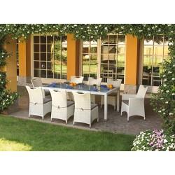 Dining set giardino vimini bianco marmo