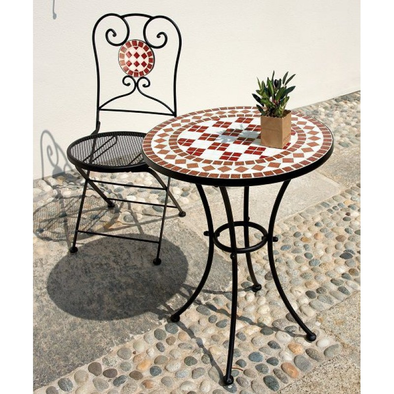 Tavolo da giardino ferro battuto rotondo mosaico san marco - Tavolo ferro battuto giardino ...