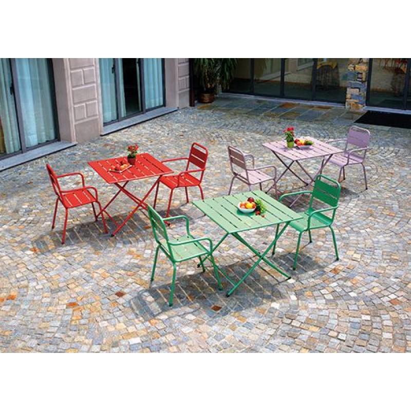 Tavolo Giardino Metallo Pieghevole.Tavolo Pieghevole In Ferro Colorato Monopoli San Marco