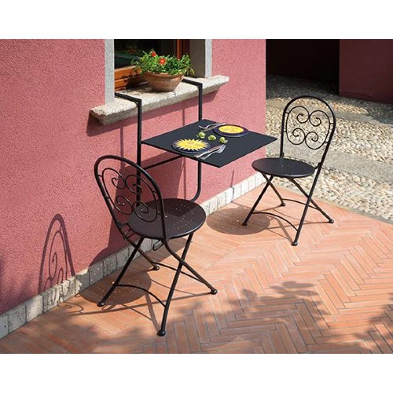 Tavolo pieghevole da ringhiera ferro 60x56 cm | San Marco