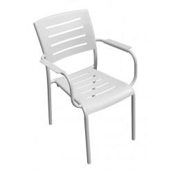 Sedia da giardino in alluminio bianco sandy Cecina - con braccioli