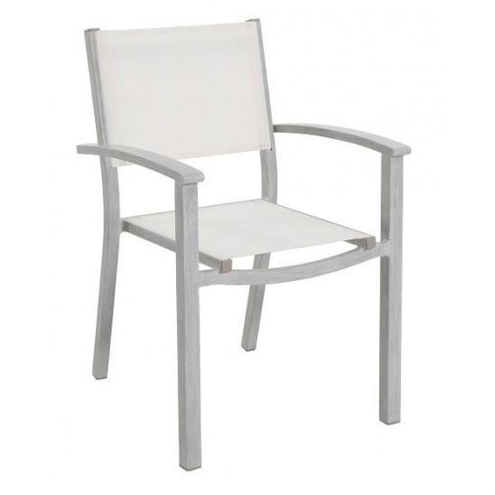 Sedia da giardino alluminio bianco sandy cecina san marco for Arredo da giardino in alluminio