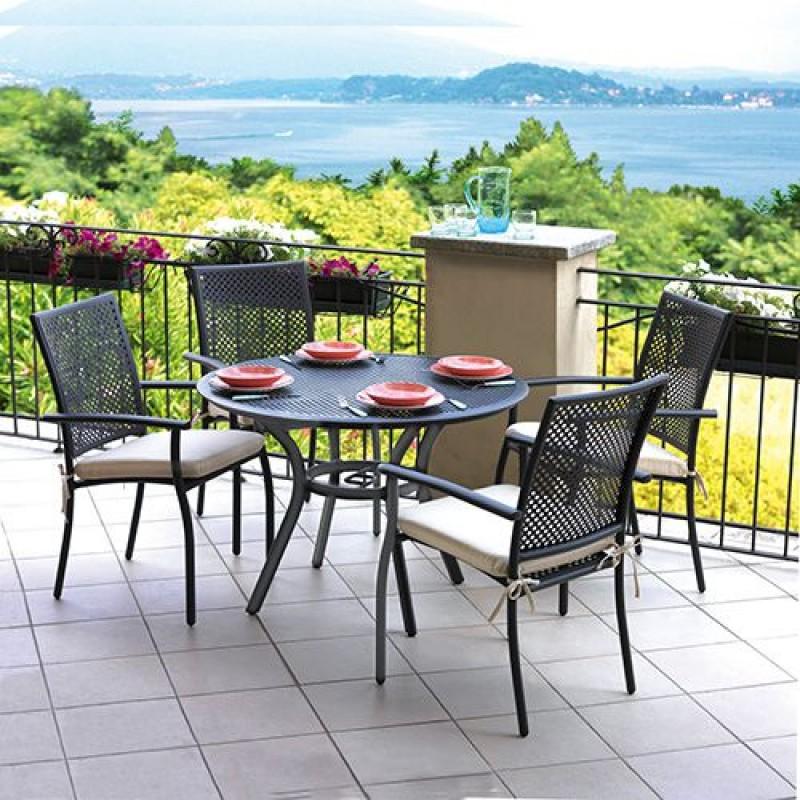 Tavolo da giardino in alluminio grigio minori san marco - Ombrelloni da giardino brico ...