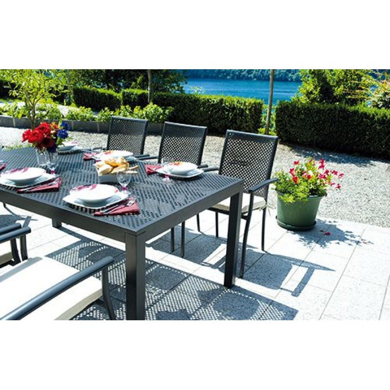 Tavolo da giardino in alluminio grigio posillipo san marco for Giardino rettangolare