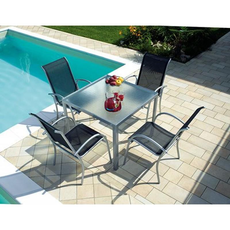 Tavolo Da Giardino 90x90.Tavolo Da Giardino In Alluminio Argento Amalfi Quadrato 90x90 Cm