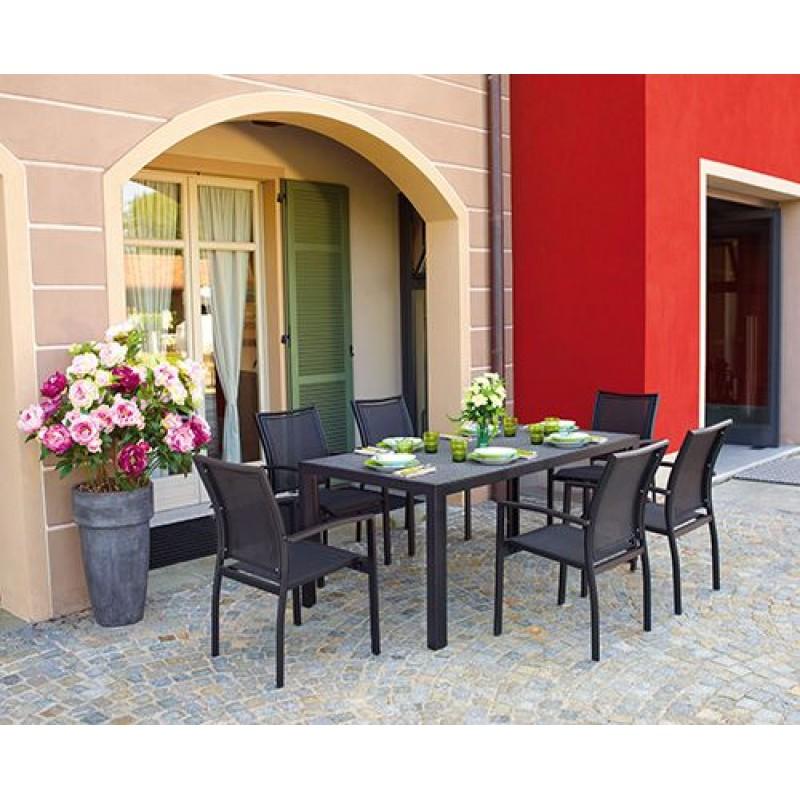 tavolo da giardino in alluminio nero opaco terracina san