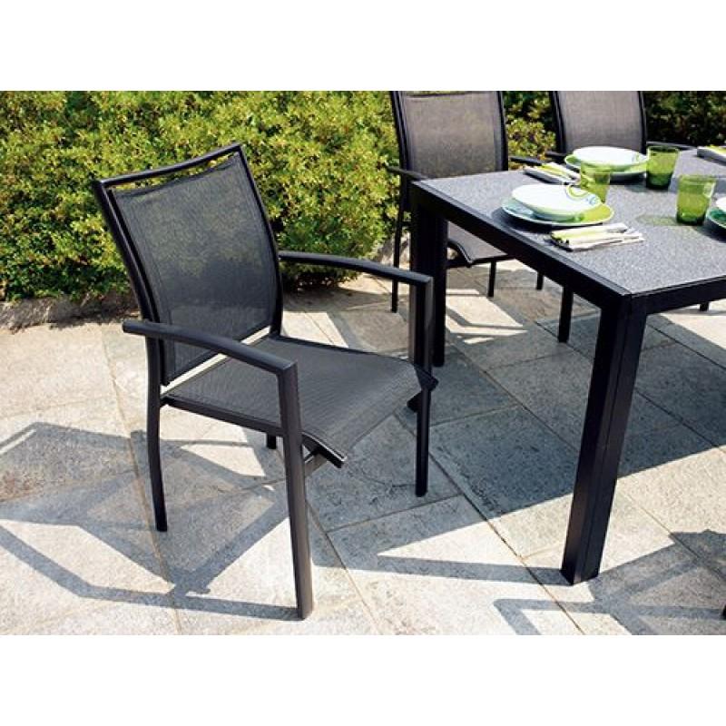 Sedie Da Giardino Impilabili.Sedia Da Giardino In Alluminio Nero Opaco Formia Impilabile