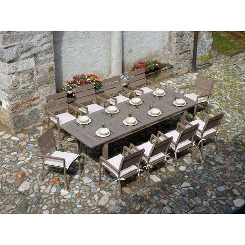 Tavolo da giardino in alluminio e resin wood monterosso - Ombrelloni da giardino brico ...