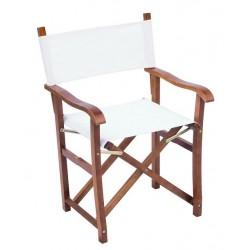 2 Sedie da giardino in legno juniper Regista Lux - canvas 320 gr. ecrù legno color teak