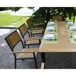 Sedia da giardino impilabile in teak e alluminio nero Ibiza