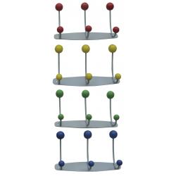 Appendiabiti da parete in metallo Orione colorato, con pomoli in ciliegio