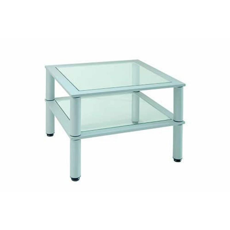 Tavolino Da Ufficio Quadrato 60x60 Cm Ripiani In Vetro