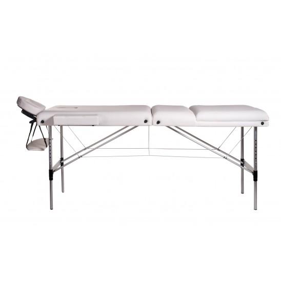 Lettino massaggio in alluminio a 3 zone bianco, 7,5 cm
