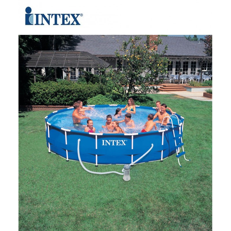 Piscina fuori terra intex metal frame 457x91 cm san marco for Piscina intex rotonda