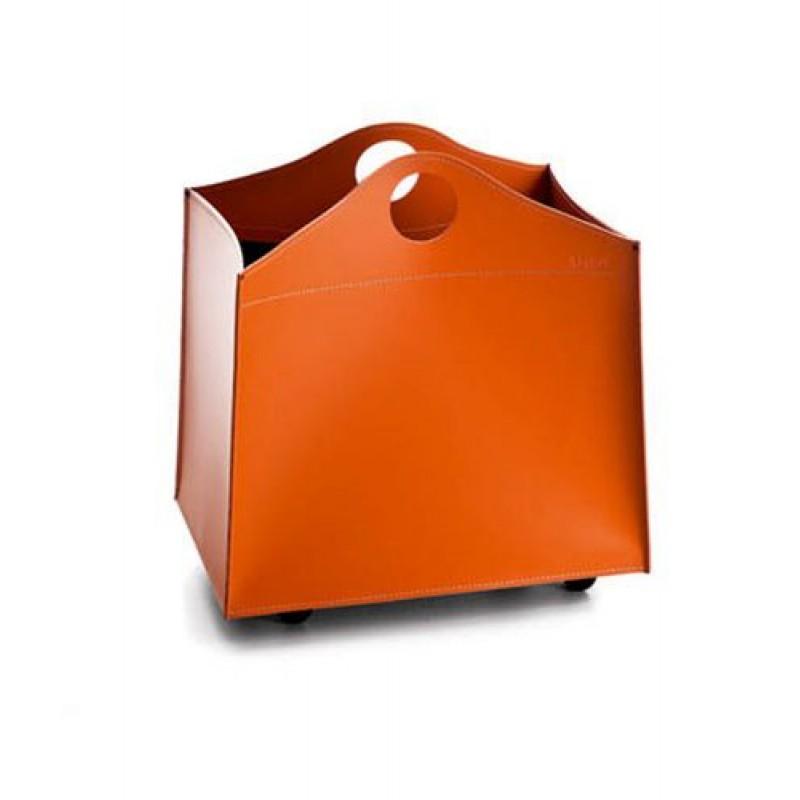 Portalegna in cuoio per camino wood bag small san marco - Porta legna per camino ...