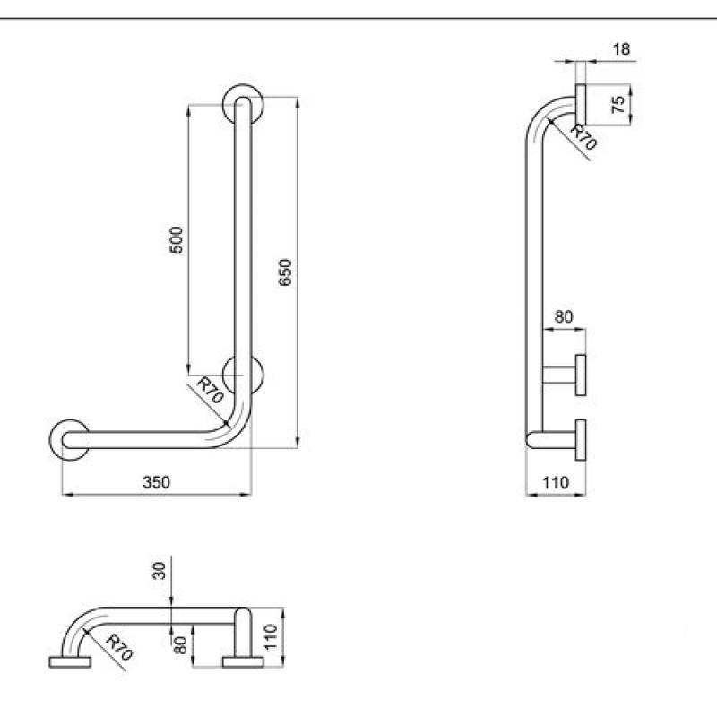 Maniglione montante per disabili 35x65 cm san marco - Accessori bagno dwg ...