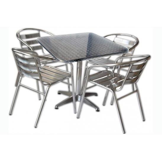 Set tavolo bar quadrato con 4 sedie in alluminio | San Marco