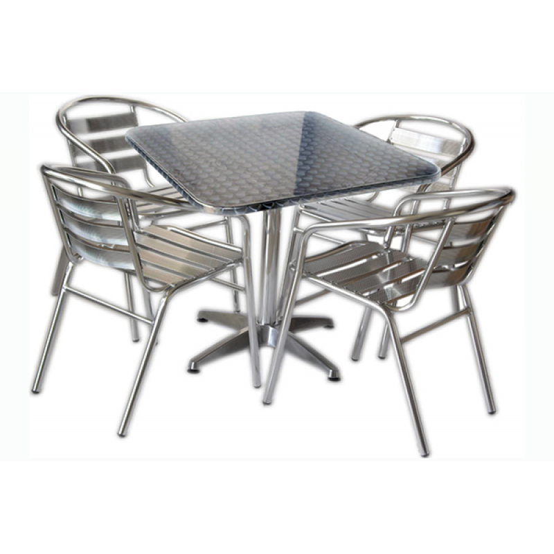Set tavolo bar quadrato con 4 sedie in alluminio san marco for Sedie in alluminio