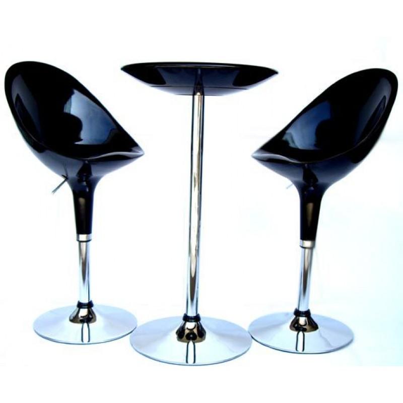Tavolo bar moderno tondo laccato nero lucido  San Marco