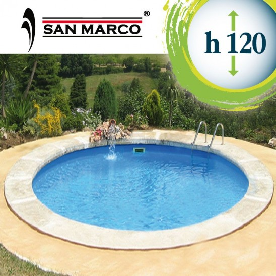 Piscina rotonda interrata o fuoriterra 400x120cm san marco for Piscina fuori terra interrata