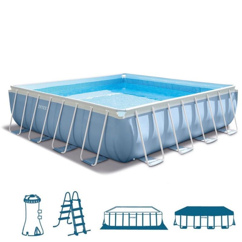 Piscina fuori terra intex prisma frame 427x427x107 cm - Scaletta piscina intex ...
