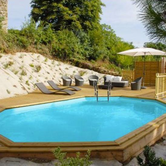 Piscina fuori terra in legno ovale gre modello safran - Piscina san marco ...