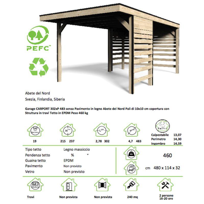 Garage tettoia in legno per auto 280x480 cm carino san marco - Misure garage per 2 auto ...