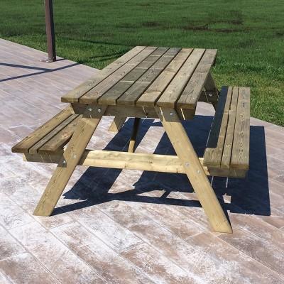 Tavolo picnic giardino da cm 72x180 con panche in legno massello impregnato ebay - Tavolo giardino legno offerte ...
