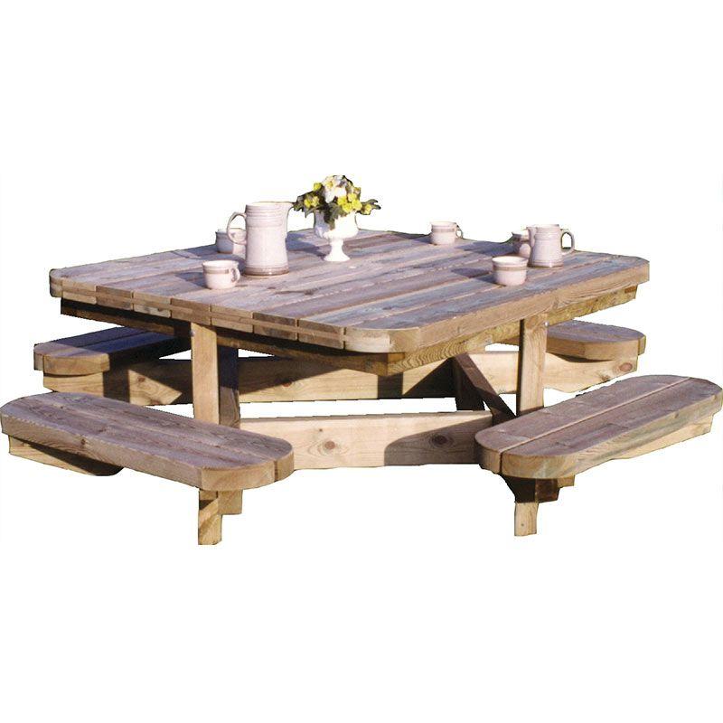 Tavolo Da Picnic.Tavolo Da Picnic Chiara Quadrato Cm 138x138x75h