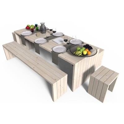 Tavolo da giardino design in legno con panche e sgabelli - Tavolo e panche da giardino ...