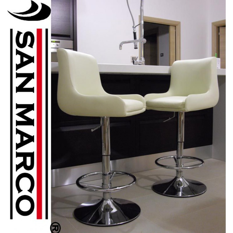 2 sgabelli bar easy chair imbottiti color crema san marco for Sgabelli bar design
