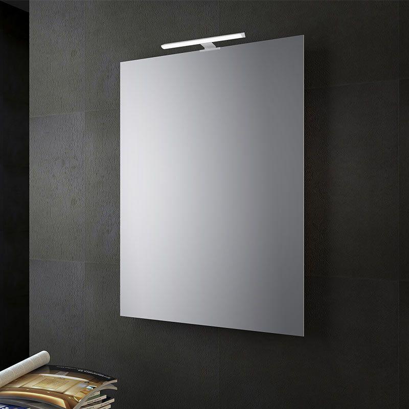 Specchio bagno reversibile con lampada led 70x50 cm san for Specchio bagno brico