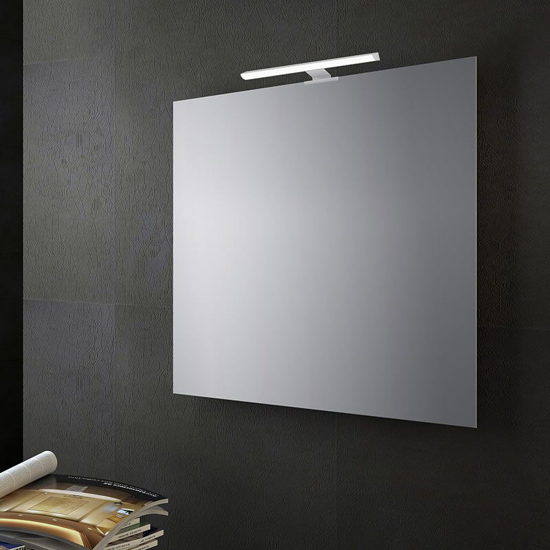 Specchio bagno reversibile con lampada led 70x70 cm san for Specchio bagno brico