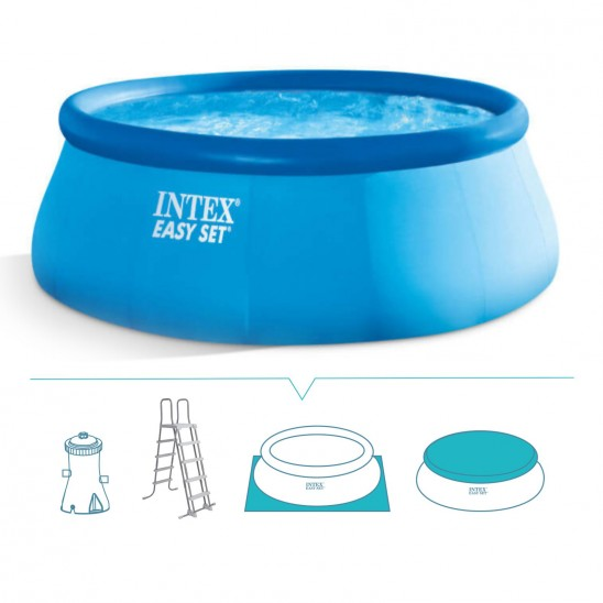 Piscina intex rotonda 457 cm Easy set con filtro Hydro Aeration