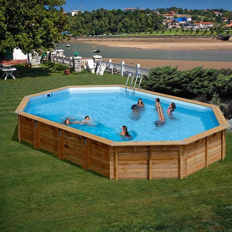 Piscina fuori terra ovale in legno da 872x472x146 cm san marco - Piscina a terra ...