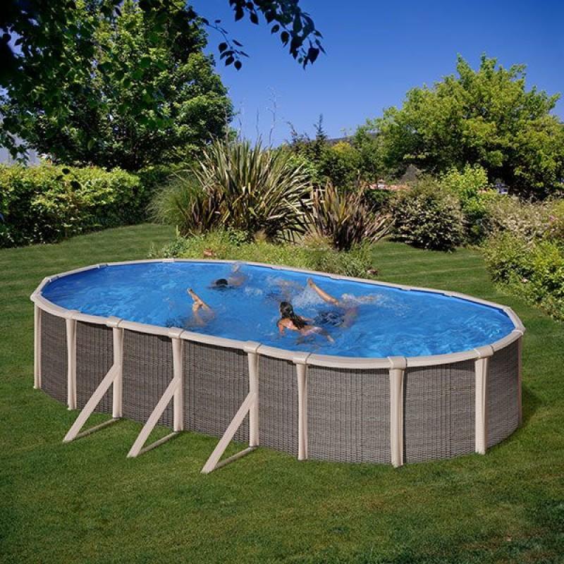 Piscina fuoriterra ovale effetto rattan con h 135 cm san marco - Accessori piscina fuori terra ...
