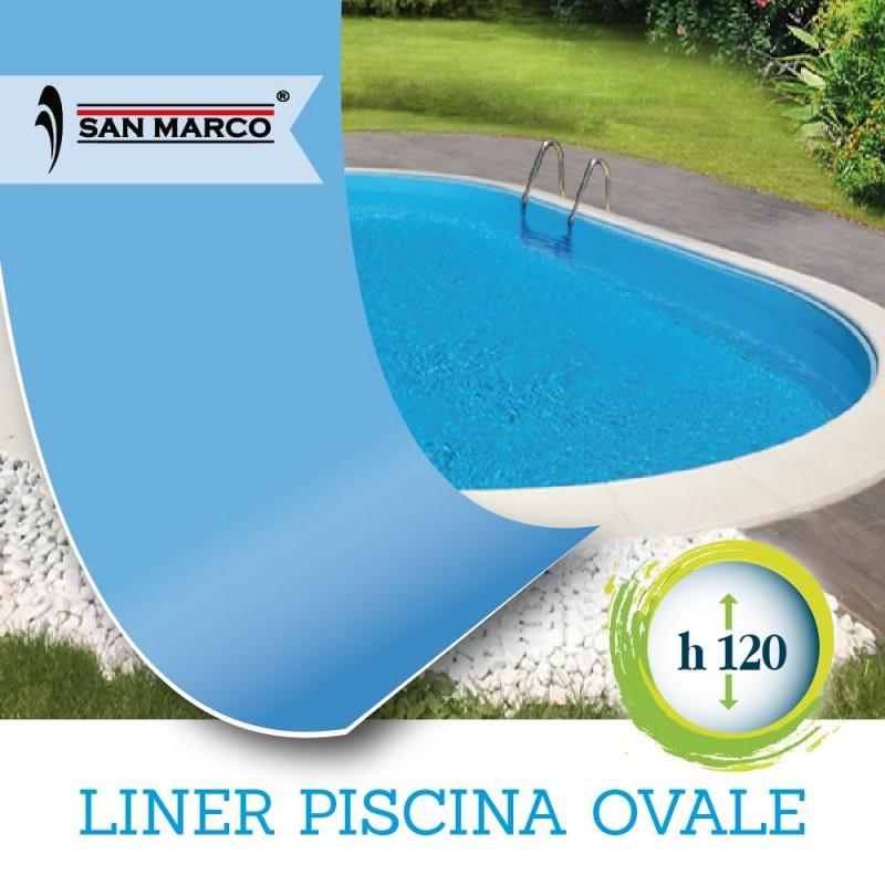 Liner per piscina interrata ovale 737x360 h120 cm san marco for Liner per piscine