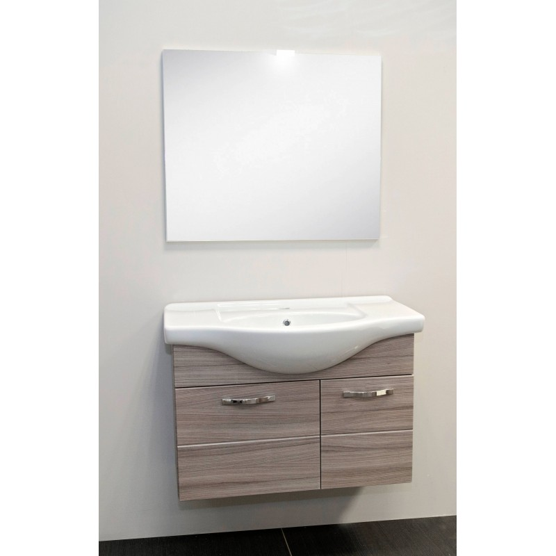 Mobile Bagno A Specchio.Mobile Bagno Venato Con Lavabo Luce Led E Specchio San Marco