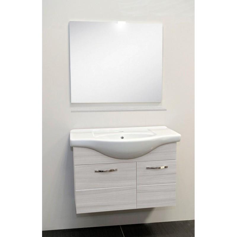 Mobile bagno sospeso venato bianco con lavabo specchio e luce