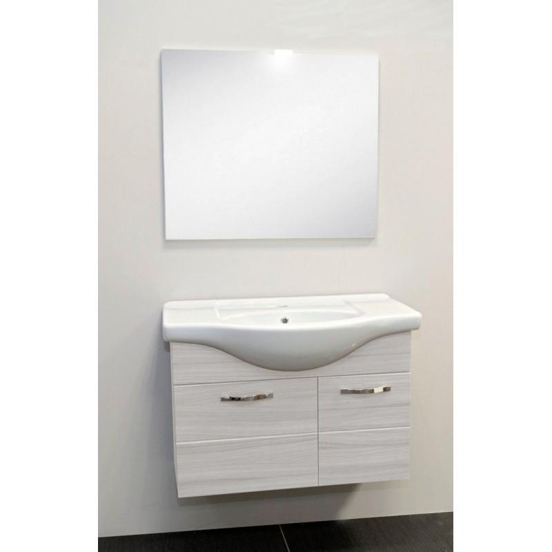 Lavello Bagno Con Mobile.Mobile Bagno Sospeso Venato Bianco Con Lavabo Specchio E Luce