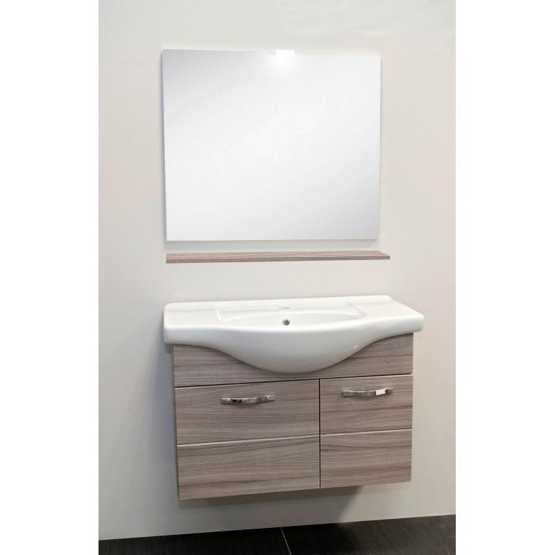 Mobile sospeso 85 cm con specchio luce e mensola | San Marco