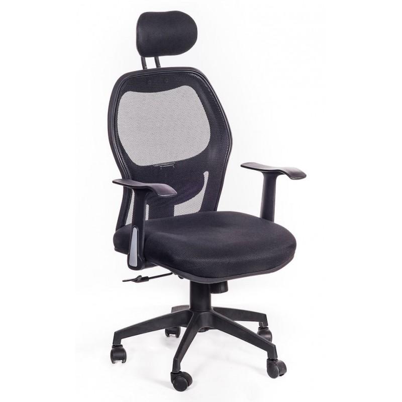 Sedia poltrona da ufficio ergonomica hub nera san marco for Poltrone per studio