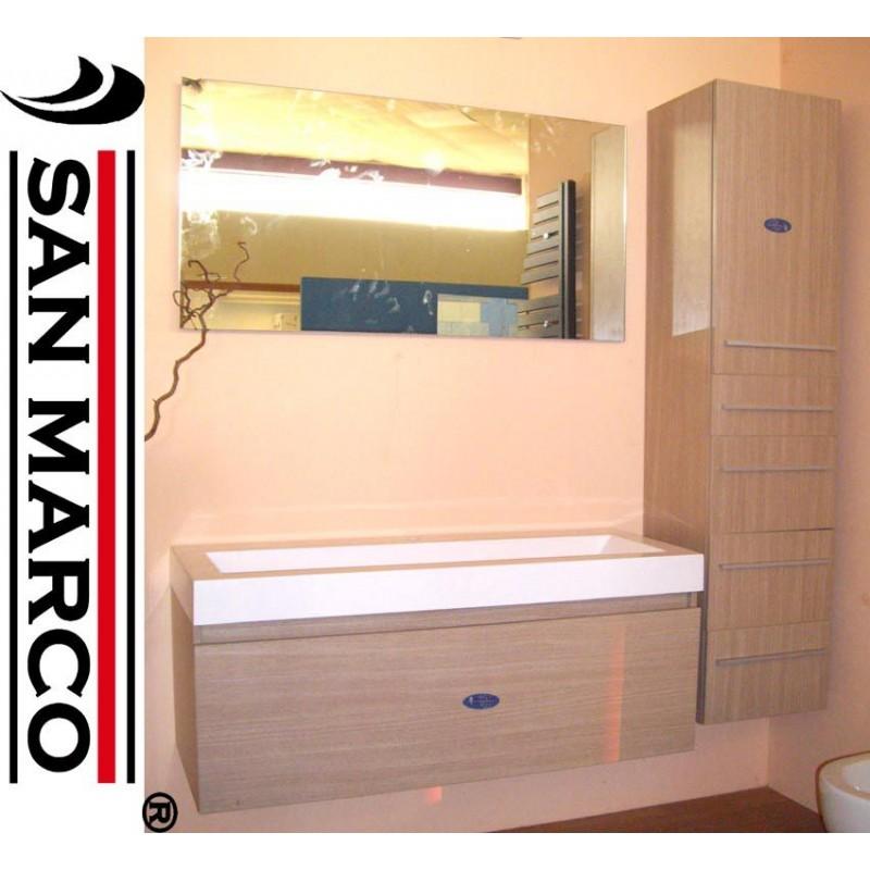 Mobile bagno con lavabo, specchio e pensile sospeso | San Marco