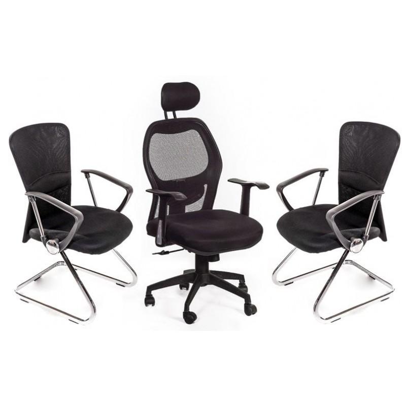 1 poltrona ufficio 2 sedie sala attesa nere san marco for Poltrone x ufficio