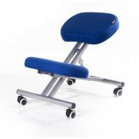 Sgabello ergonomico blu per casa o ufficio con ruote parquet