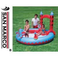 Castello gonfiabile per bambini con drago e giochi d'acqua